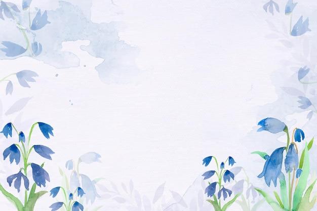 Früher scillablumenhintergrundvektor in der blauen aquarellwintersaison