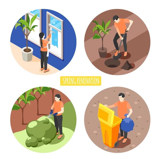 Frühjahrsrenovierungskonzeptsatz von männern und frauen, die fenster waschen, das baumschnittbusch herausnehmen, der müll isometrisch herausnimmt