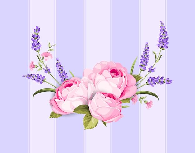 Frühling blüht blumenstrauß auf purpurroten linien