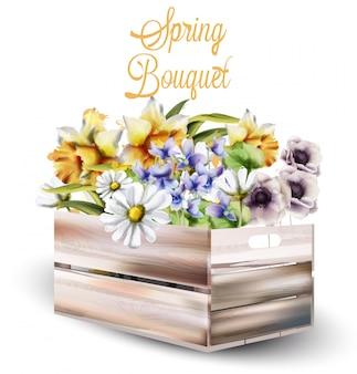 Frühling blüht blumenstrauß in einem kastenaquarell