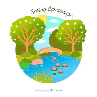 Frühling flusslandschaft hintergrund