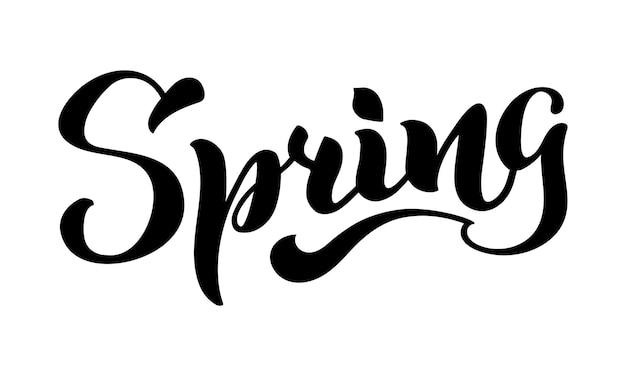 Frühling handgeschriebener schriftzug isoliert auf weiß vektor-illustration für poster-karten-kalender