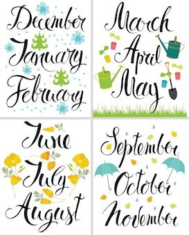 Frühling, herbst, winter, sommer. monat des jahres. kalligraphie