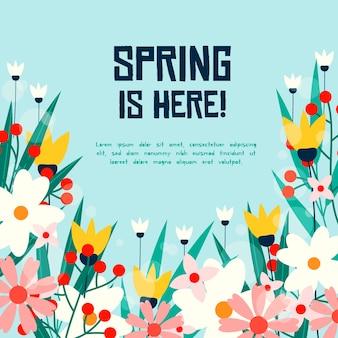 Frühling hier und blumenfeld bei tageslicht