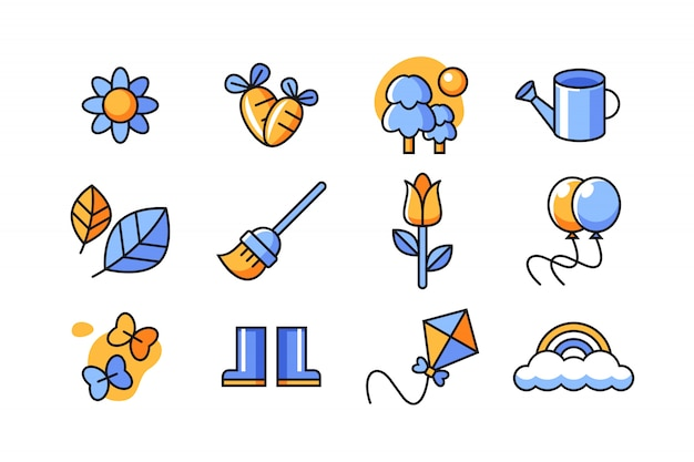 Frühling-icon-set