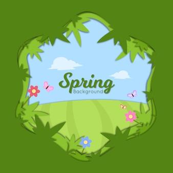 Frühling im papierschnittstil