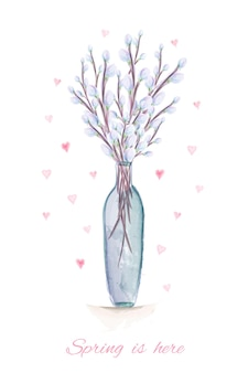 Frühling ist hier handgezeichnete aquarellillustration. grußkarte mit aquarell pussy weidenzweigen in der vase.