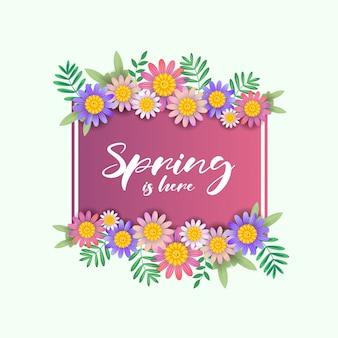 Frühling ist hier text mit schönen blumenrahmen