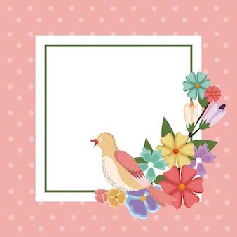Frühling karte vogel blume rahmen dekoration einladung vorlage
