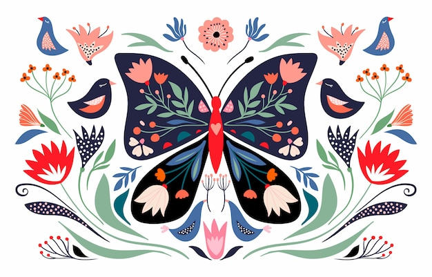 Frühling komposition mit floralen schmetterling und saisonalen elementen, blumen und vögeln; dekorative plakatfahne