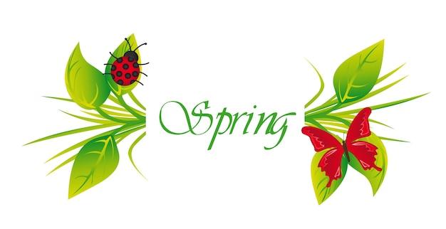 Frühling mit schmetterling und marienkäfer
