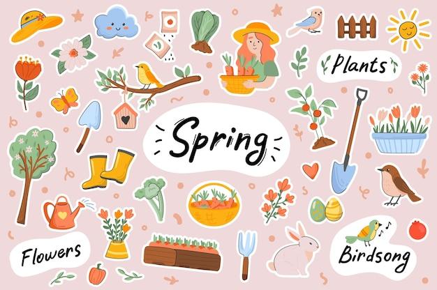 Frühling niedliche aufkleber vorlage scrapbooking elemente gesetzt