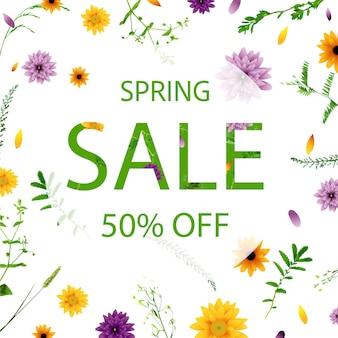 Frühling sale banner mit blumen