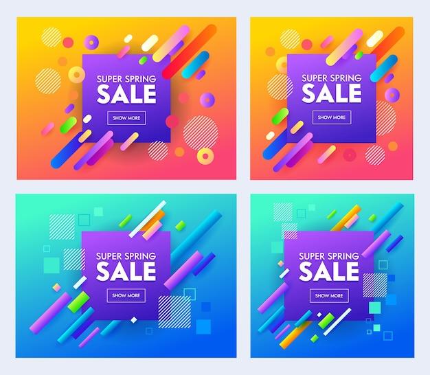Frühling super sale poster set mit farbdesign auf blauem und orangefarbenem hintergrund. helles und stilvolles werbekonzept für online-shop-flyer oder banner. kreatives material flache karikatur-vektor-illustration