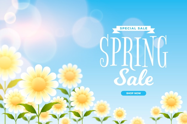 Frühling unscharfe verkaufsschablone mit gänseblümchen