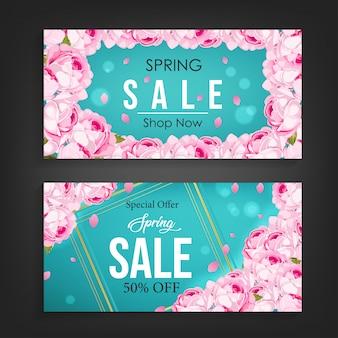 Frühling verkauf banner hintergrund vektor