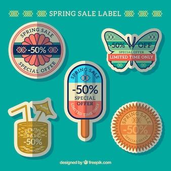Frühling verkauf etiketten mit formen