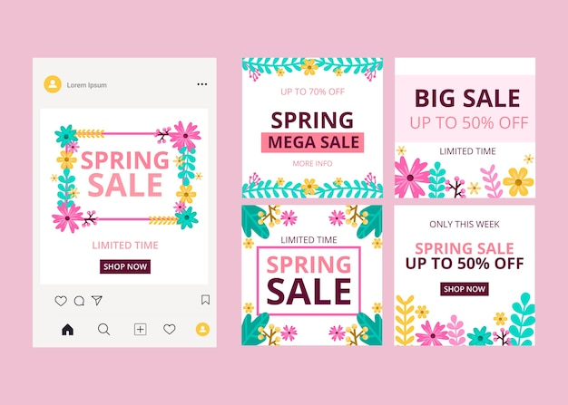 Frühling verkauf instagram beiträge pack