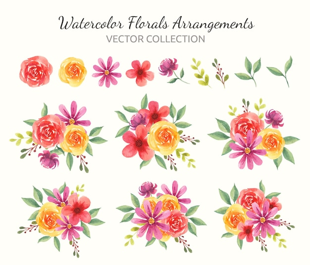 Frühlings-aquarell-blumenarrangements-kollektion