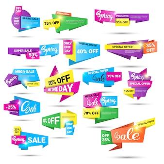 Frühlings-ausverkauf einkaufen sonderangebot urlaub banner set