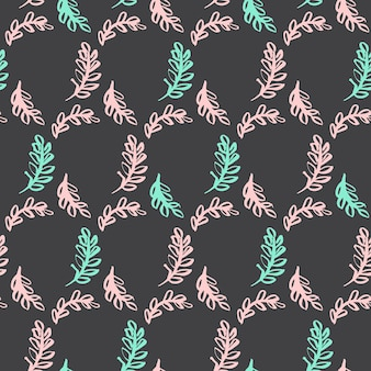 Frühlings-blatt-nahtloses muster. vektor-illustration der natur-pflanze tileable hintergrund.