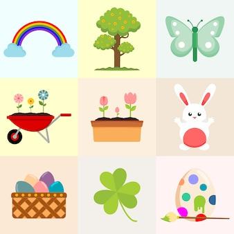 Frühlings-in verbindung stehende gegenstand, der illustrations-grafik zeichnet