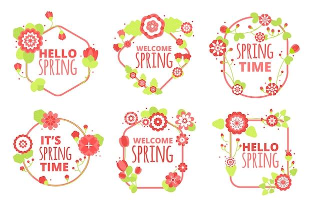 Frühlings-label / abzeichen-kollektion im flachen design