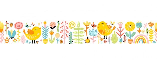Frühlings nahtloses grenzmuster mit niedlichen karikaturvögeln mit hühnern, blumen, regenbogen, insekten in einer bunten palette. kindliche illustration im handgezeichneten skandinavischen stil
