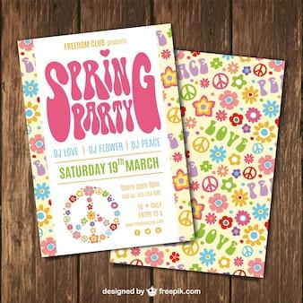 Frühlings-party broschüre in hippieart