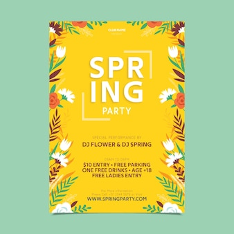 Frühlings-partyplakat des flachen designs des blumenrahmens