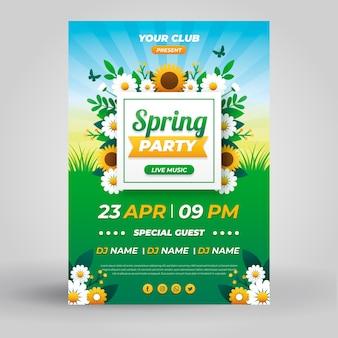 Frühlings-partyplakatschablone im flachen design