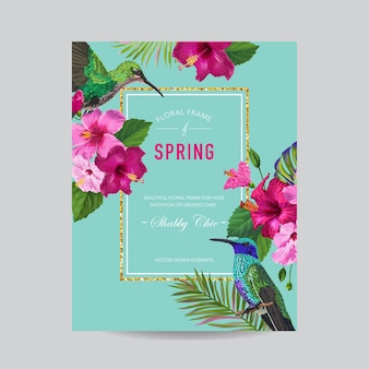 Frühlings-sommer-blumenrahmen mit vögeln