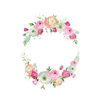 Frühlings- und sommerblumenrahmen für feiertagsdekoration. hochzeitseinladung, grußkartenvorlage mit blühenden rosa blumen. vektor-illustration