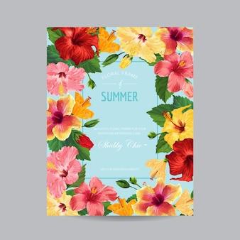 Frühlings- und sommergrußkarte mit rahmen. blumenmuster mit roten hibiskus-blumen für weding-einladung