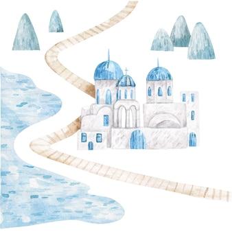 Frühlings- und sommerlandschaft mit bergen und weißen häusern niedliche aquarellkinderillustration