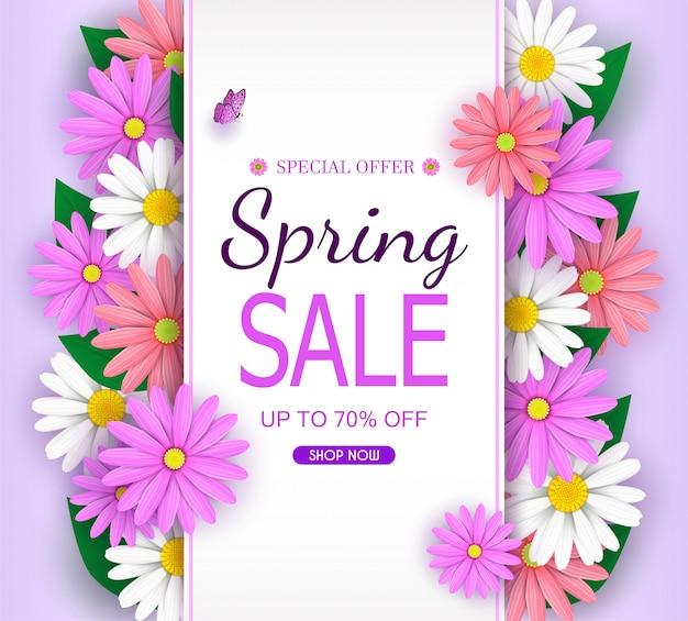 Frühlings-verkaufs-fahnenhintergrund mit schönen bunten blumen blühen.