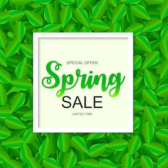 Frühlings-verkaufs-nette fahne mit grünen blättern.