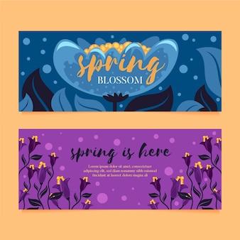 Frühlings-verkaufsfahnen des flachen designs gesetzte