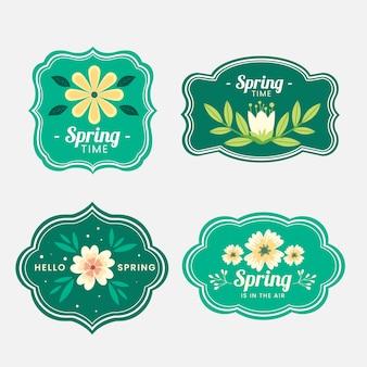 Frühlingsabzeichen-sammlung im flachen design