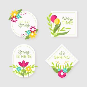 Frühlingsabzeichensammlung im flachen design