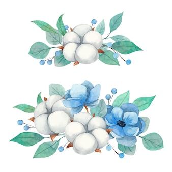 Frühlingsaquarell gesetzt blumensträuße von blumen anemone, baumwolle und zweigen