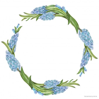 Frühlingsaquarellkranz mit hyachinthblumen