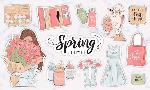 Frühlingsaufkleberkollektion mit modernen weiblichen modeobjekten und accessoires