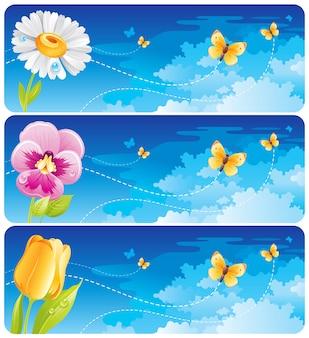 Frühlingsbanner mit blumen - gänseblümchen, stiefmütterchen und tulpe