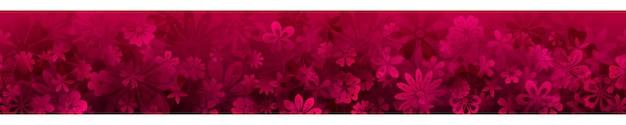 Frühlingsbanner mit verschiedenen blumen in purpurroten farben mit nahtloser horizontaler wiederholung