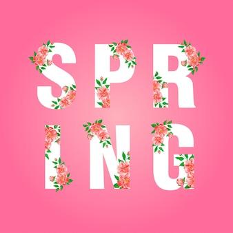 Frühlingsbeschriftung mit blumenaquarell