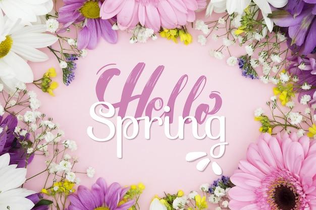 Frühlingsbeschriftungsstil mit blumenfoto