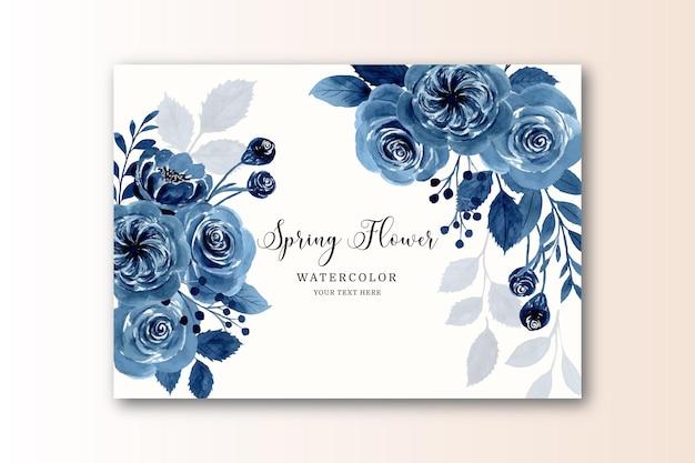 Frühlingsblaue blumenkarte mit aquarell