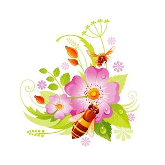 Frühlingsblume . blumensymbol der hagebutte mit blatt, gras, honigbiene.