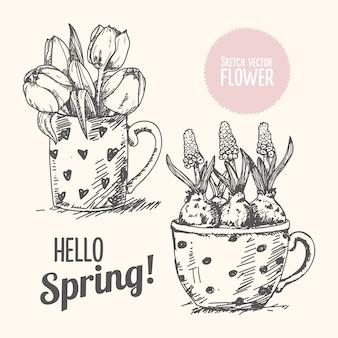 Frühlingsblume hand gezeichnet